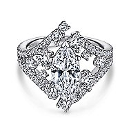 14k White Gold Marquise  Split Shank Engagement Ring angle 1