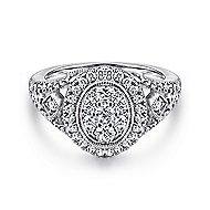 14k White Gold Messier Classic Ladies' Ring angle 1