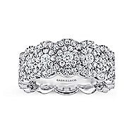 14k White Gold Messier Wide Band Ladies' Ring angle 4
