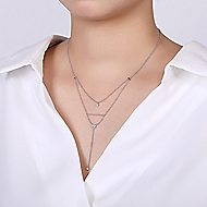 14k White Gold Messier Y Knots Necklace