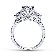 14k White Gold Oval 3 Stones Engagement Ring angle 2