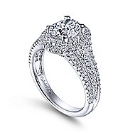 14k White Gold Oval Double Halo Engagement Ring angle 3