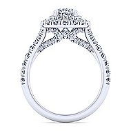 14k White Gold Oval Double Halo Engagement Ring angle 2