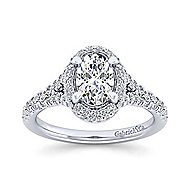 14k White Gold Oval Double Halo Engagement Ring angle 5