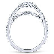 14k White Gold Oval Double Halo Engagement Ring