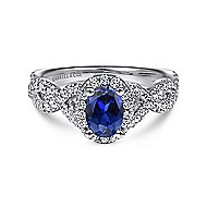 14k White Gold Oval Halo Engagement Ring ~ Almeida