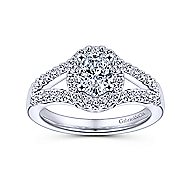 14k White Gold Oval Halo Engagement Ring angle 5