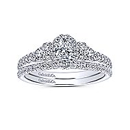 14k White Gold Oval Halo Engagement Ring angle 4