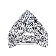 14k White Gold Pear Shape Curved Engagement Ring angle 4