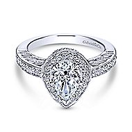 14k White Gold Pear Shape Halo Engagement Ring angle 1