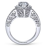14k White Gold Pear Shape Halo Engagement Ring