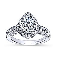 14k White Gold Pear Shape Halo Engagement Ring angle 5