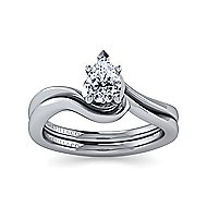 14k White Gold Pear Shape Solitaire Engagement Ring angle 4