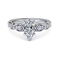14k White Gold Pear Shape Straight Engagement Ring angle 1