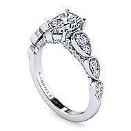 14k White Gold Pear Shape Straight Engagement Ring angle 3