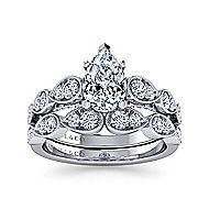 14k White Gold Pear Shape Straight Engagement Ring angle 4