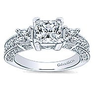 14k White Gold Princess Cut 3 Stones Engagement Ring angle 5