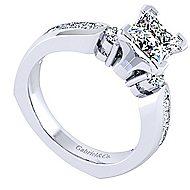 14k White Gold Princess Cut 3 Stones Engagement Ring angle 3