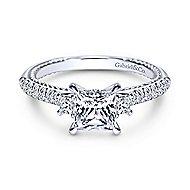 14k White Gold Princess Cut 3 Stones Engagement Ring angle 1