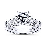 14k White Gold Princess Cut 3 Stones Engagement Ring angle 4