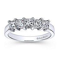 14k White Gold Princess Cut 5 Stone Shared Prong Band