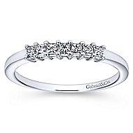 14k White Gold Princess Cut 7 Stone Diamond Anniversary Band