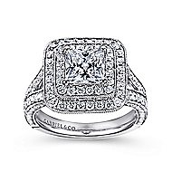 14k White Gold Princess Cut Double Halo Engagement Ring angle 5
