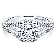 14k White Gold Princess Cut Halo Engagement Ring angle 1
