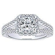 14k White Gold Princess Cut Halo Engagement Ring angle 5