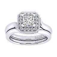 14k White Gold Princess Cut Perfect Match Engagement Ring angle 4