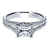 14k White Gold Princess Cut Split Shank Engagement Ring angle 1