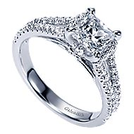 14k White Gold Princess Cut Split Shank Engagement Ring angle 3