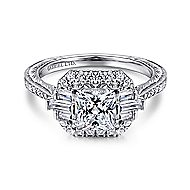 14k White Gold Princess Cut Straight Engagement Ring angle 1