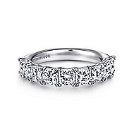 14k White Gold Radiant Cut 9 Stone Diamond Anniversary Band