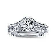 14k White Gold Reverse Tapered Round Halo Engagement Ring