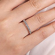 14k White Gold Round 13 Stone Diamond Anniversary Band angle 5