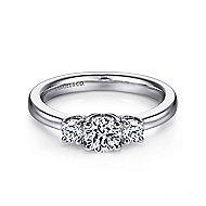 14k White Gold Round 3 Stones Engagement Ring angle 1