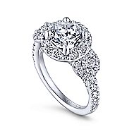 14k White Gold Round 3 Stones Halo Engagement Ring angle 3