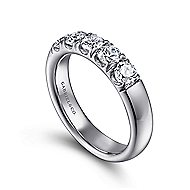 14k White Gold Round 5 Stone Diamond Anniversary Band