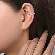 14k White Gold Round Bezel Diamond Earcuff Earring