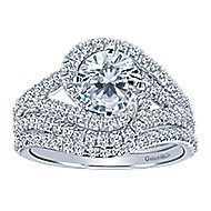 14k White Gold Round Criss Cross Engagement Ring angle 4