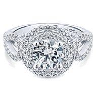 14k White Gold Round Double Halo Engagement Ring