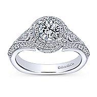 14k White Gold Round Double Halo Engagement Ring angle 5