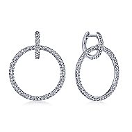 14k White Gold Round Linked Pave Diamond Huggie Drop Earrings
