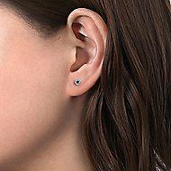 14k White Gold Round Sapphire & Diamond Halo Stud Earrings