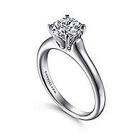14k White Gold Round Solitaire Engagement Ring angle 3