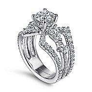 14k White Gold Round Split Shank Engagement Ring