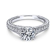 14k White Gold Round Straight Engagement Ring angle 1