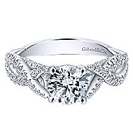 14k White Gold Round Twisted Engagement Ring angle 1