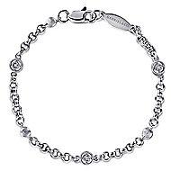 14k White Gold Secret Garden Chain Bracelet angle 1